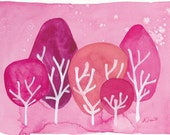 Whimsical Watercolor Pink Forest Art Print Reproduction Baby Girl Wall Art
