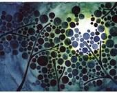 Full Moon Watercolor Tree Art Print