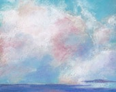 Original Pastel Drawing Clouds I Original Skyscape Painting Wall Art Bathroom Decor Matted and Ready To Frame