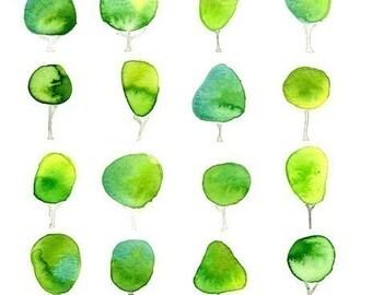 La Petite Forest Watercolor Tree Art Print Geometric Wall Art