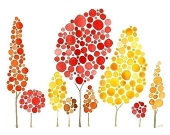 Watercolor Tree Print Autumn Gatherings
