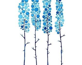 True Blue Watercolour Landscape Art Print Winter Tree Artwork Home Wall Poster