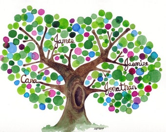 Large Family Tree Watercolour Painting Personalized with Family Names