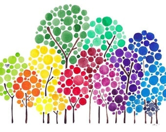 Tree Art Personalized Watercolour Family Forest Painting Custom Wall Artwork For Gift and Home