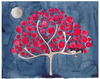 Night Watch Watercolour Tree Print Nursery and Wall Art