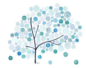 Winter Watercolour Tree Snowflakes Print