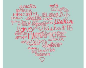 Languages of Love Illustration Romantic Wall Print