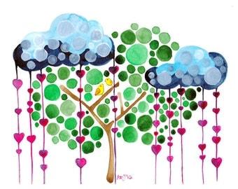 Rain Down On Me Watercolour Print Wall Art for Nursery and Home