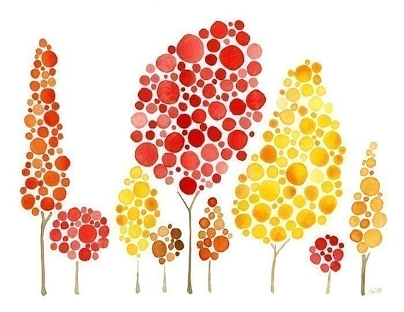 Watercolor Tree Print Autumn Gatherings