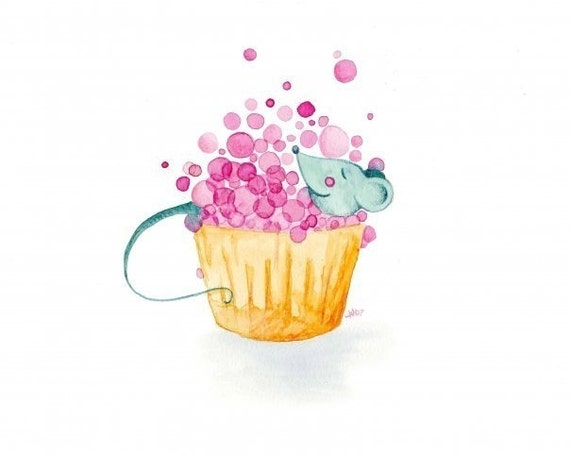 Watercolour Bathroom Artwork Cupcake Bubble Bath Bathroom Wall Art Decor