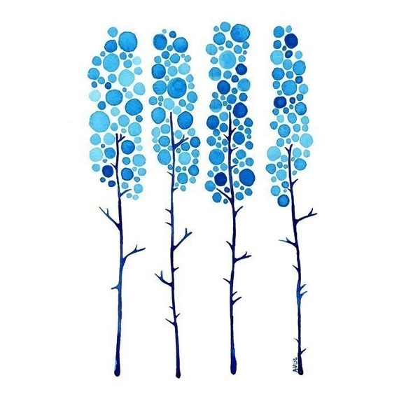 True Blue Watercolour Landscape Art Print Winter Tree Artwork Home Wall Poster