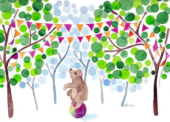 Circus Bear Watercolor Painting Artprint Whimsical Country Fair Wall Art
