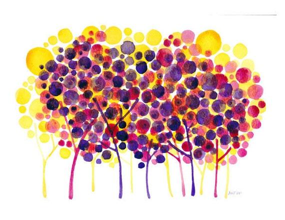SALE Colorful Impositions Original Watercolour Landscape Painting - on sale
