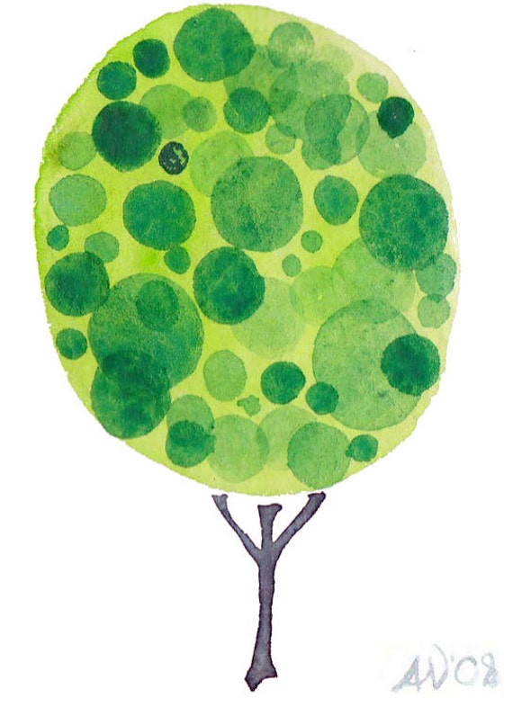 Spring SALE Green Tree Watercolor Painting ATC ACEO