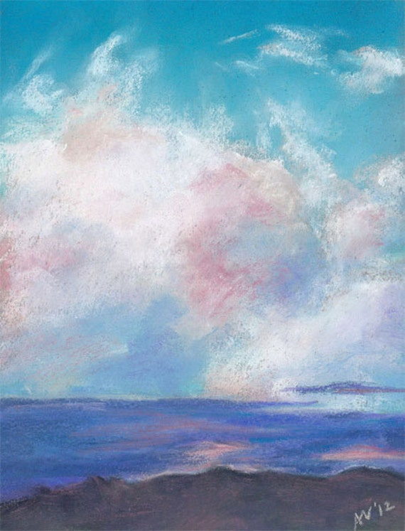 Original Pastel Drawing Clouds I Original Skyscape Painting