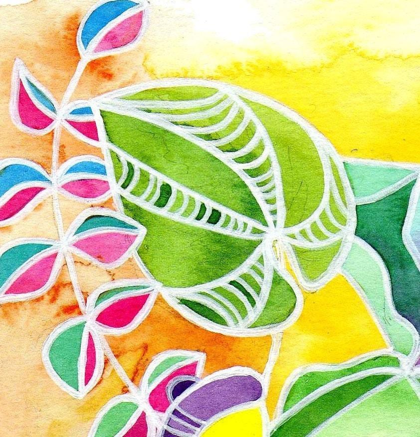 Leaf and Acorn Botany Watercolor  Wall Art Print