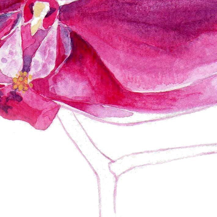 Watercolour Flower Pink Orchid Fine Art Botany Print Gardening Wall Art
