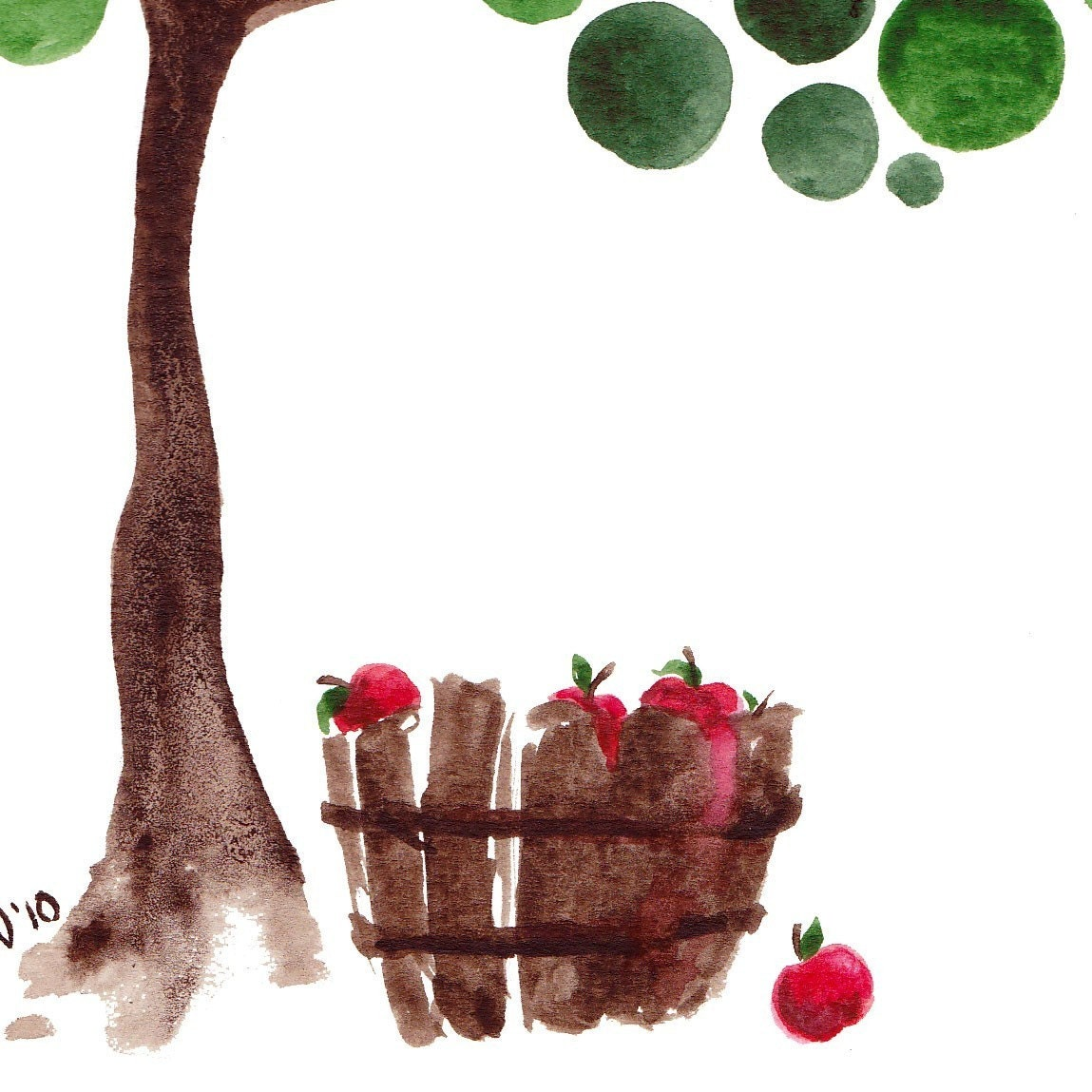 Sappho's Tree Watercolor Art Print Wall Artwork Poster