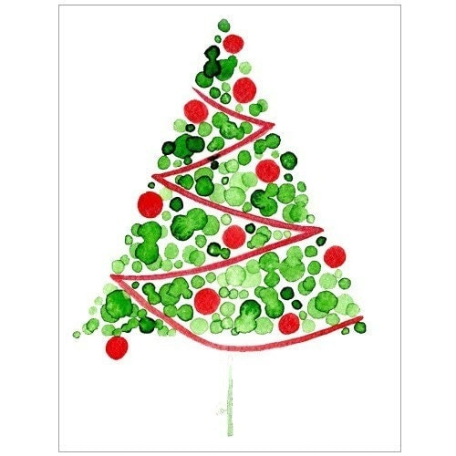 Watercolour Christmas Tree: Single Red Christmas Tree REPRODUCTION Watercolor Greeting