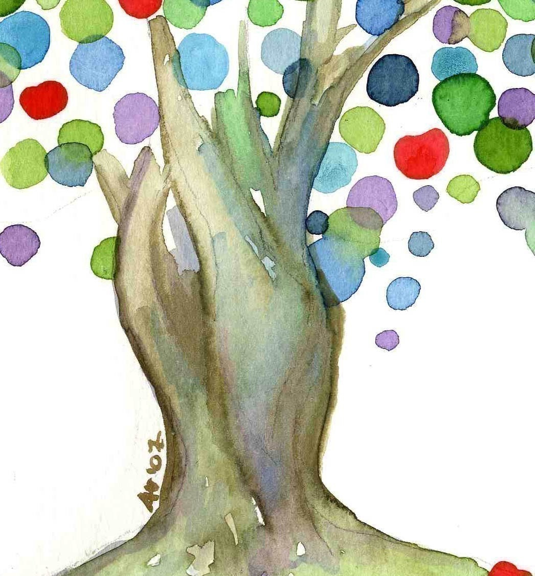 Watercolour Archival Apple Tree Art Print - Nursery Children Teacher Office Kitchen Wall Art