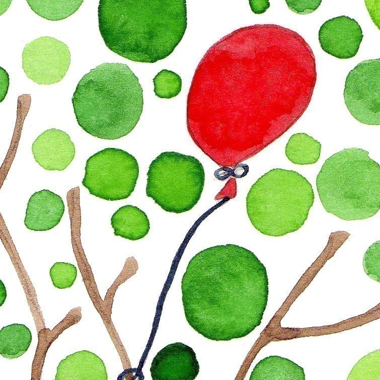 Tree Watercolour Artwork Red Balloon Art Print Painting Reproduction