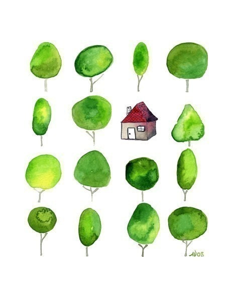 La Petite Cottage in the Forest Print