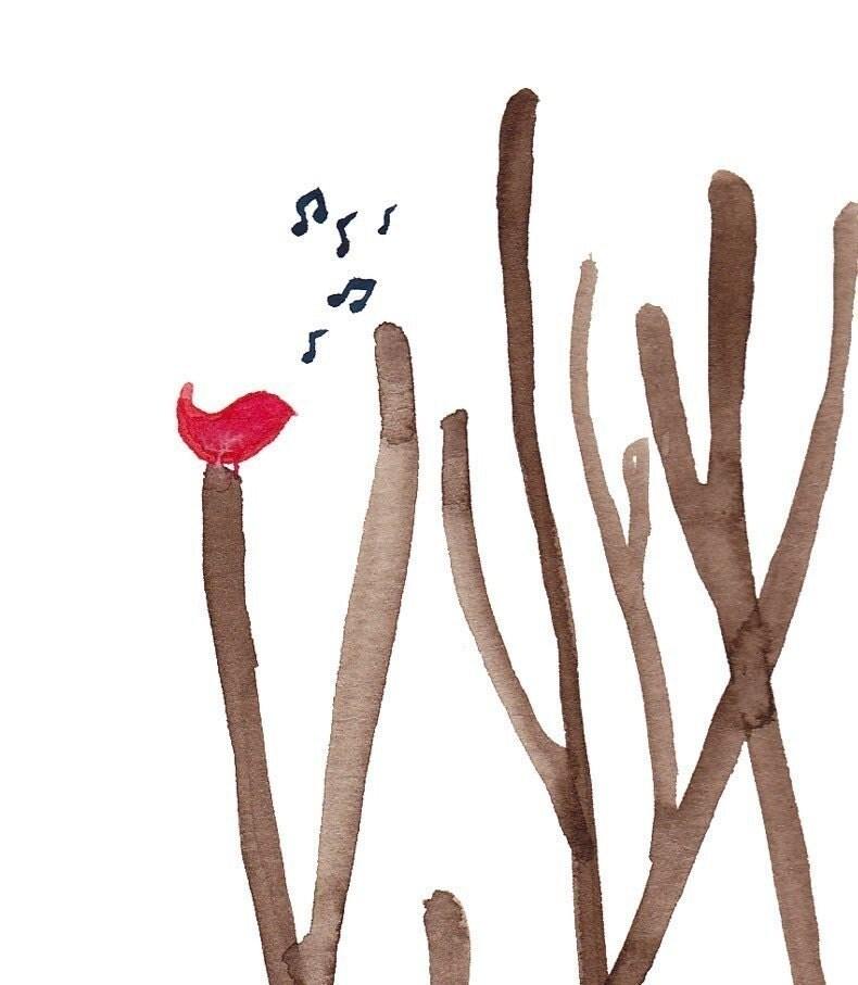 Watercolour Cardinal Song Art Print Wall Poster