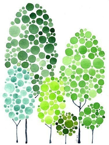 Personalized Family Tree Forest Watercolor Painting Custom Just For You