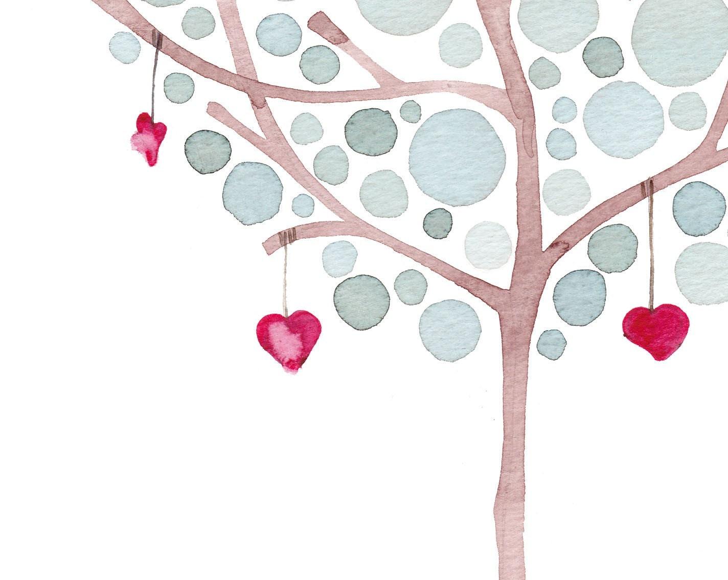 Watercolor Artwork Hanging Hearts Print Home Decor