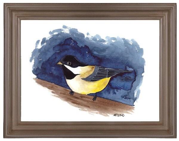 Watercolour Bird Artwork Midnight Thrush Art Print