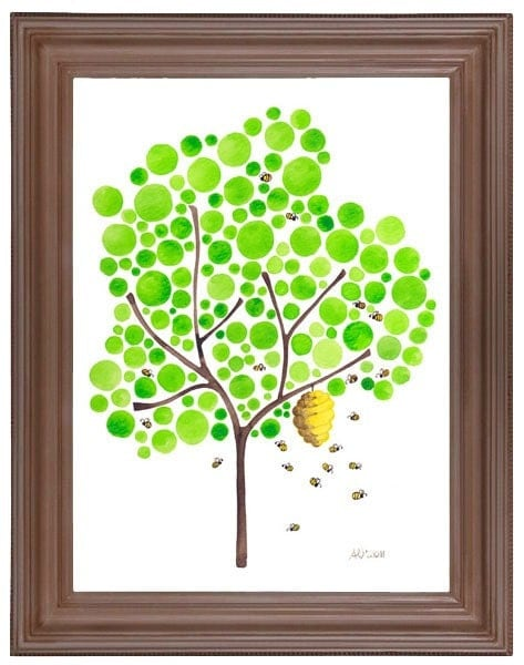 Watercolour Tree Artwork Bee Hive Print Kitchen Wall Decor