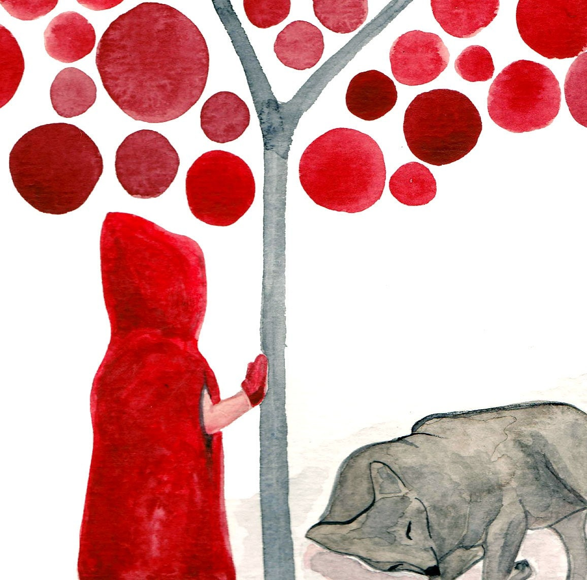 Watercolor Little Red Riding Hood and the Wolf Art Print Fairy Tale Artwork