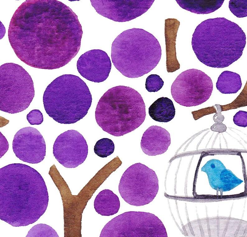 Tree Watercolour Caged Bird Fine Art Print