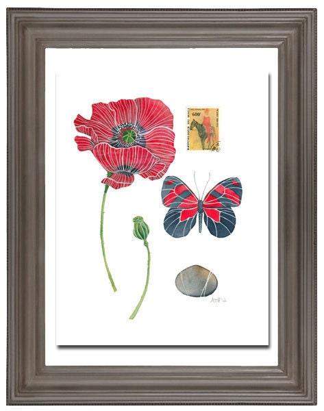 Poppy Watercolour Painting Original Watercolour Botany Art Still Life - on sale