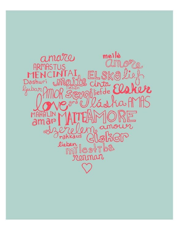 Languages of Love Illustration Romantic Wall Print