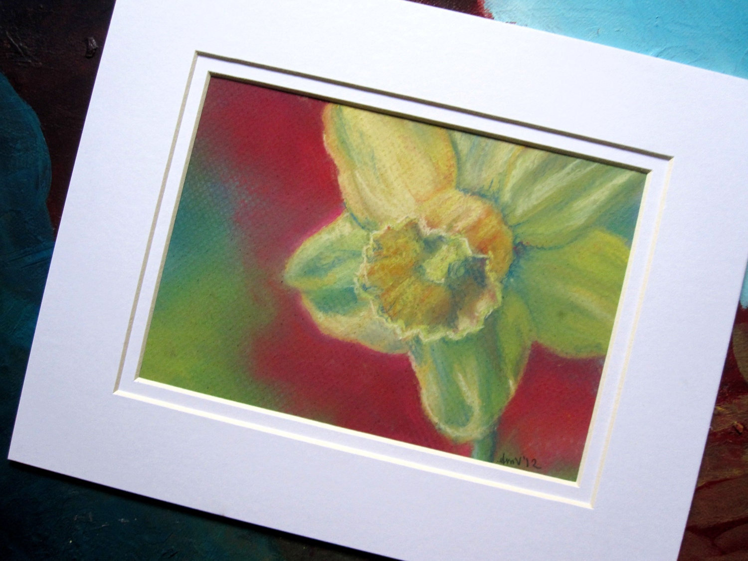 Daffodil Original Pastel Drawing Painting Floral Artwork Matted and Ready To Frame