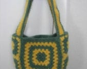 Granny Square Tote Felted Wool Handbag Green Yellow