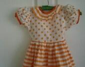Orange and White Girls Dress