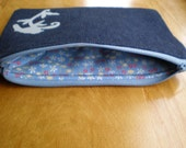 Denim and floral zipper pouch upcycled