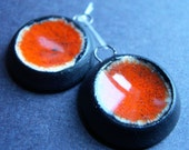 Orangeand Black Small recycled glass and stoneware clay pendant charm or earring set