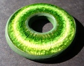Spring green Stripes Donut Stoneware clay and Recycled glass