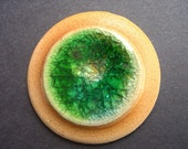 Handmade Stoneware clay and fused glass cabochon