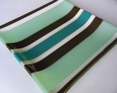 Fused glass platter - green, brown, vanilla