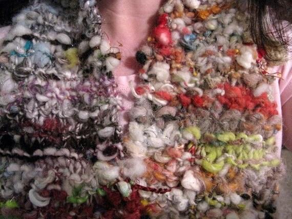 Smoosh Scarf-Handspun Art Yarn Knit Scarf