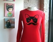 Red Moustache Kitty Sheer Jersey Long Sleeve Tee