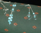 Blue opal necklace and earring set