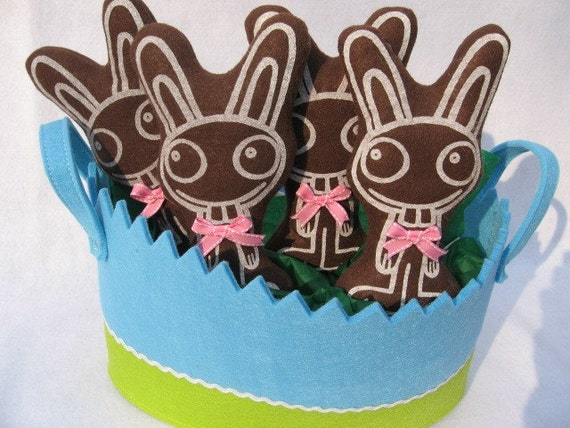 Easter FUNNY BUNNIES Hand Screen Printed Plushie