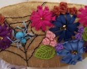 Silk Ribbon Flowers Beaded Spider Barrette