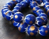 Cobalt and Gold Vintage Lucite 10mm Round Beads Starburst Pattern Cool Eclectic Design Element 13 pieces