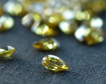 CZ Citrine 5mm Pear Cubic Zirconia Faceted Stones Loose Gems Yellow Color 10 pieces